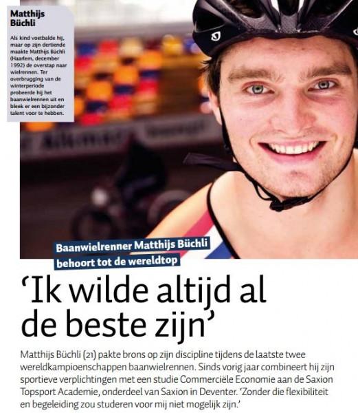 Baanwielrenner Matthijs Büchli wil altijd de beste zijn